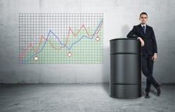 Бизнесмен в уверенно представлении стоя рядом с бочонком масла на предпосылке диаграммы Стоковая Фотография RF