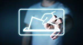 Бизнесмен голосуя используя перевод цифрового интерфейса 3D Стоковое Изображение RF