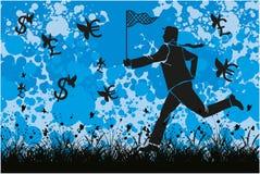 бизнесмен гоня деньги иллюстрация штока
