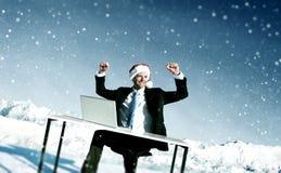Бизнесмен готовый для концепции рождества жизнерадостной стоковое изображение rf