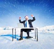 Бизнесмен готовый для концепции рождества жизнерадостной стоковые изображения rf