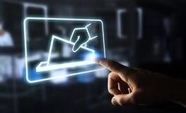 Бизнесмен голосуя используя перевод цифрового интерфейса 3D Стоковые Изображения