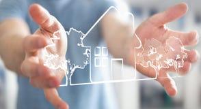 Бизнесмен держа проект плана недвижимости рукописи Стоковые Изображения