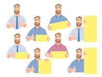Бизнесмен держа пустой знак - комплект иллюстрация вектора