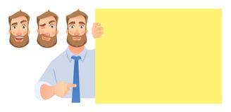 Бизнесмен держа пустой шильдик набор бесплатная иллюстрация