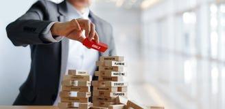 Бизнесмен держа слово ЦЕЛЕЙ на деревянных блоках финансовохозяйственно стоковые фотографии rf