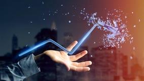 Бизнесмен держа финансовую стрелку идя вверх и explosing на Стоковая Фотография RF