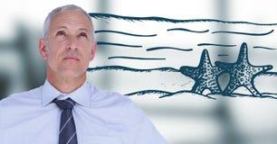 Бизнесмен думая пляжа против расплывчатого серого окна Стоковые Фотографии RF