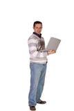 бизнесмен его представлять компьтер-книжки стоковые фото