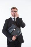 бизнесмен его рудоразборка носа Стоковое фото RF