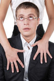 бизнесмен его секретарша удивила стоковые изображения rf