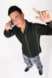 бизнесмен его телефон Стоковая Фотография
