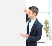 Бизнесмен демонстрирует проект Стоковая Фотография RF