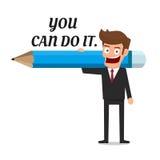 Бизнесмен держа карандаш и отправляет СМС вы может сделать его белизна принципиальной схемы изолированная воодушевленностью Стоковые Фото