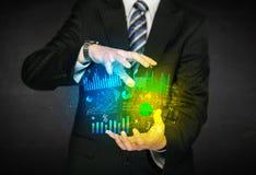 Бизнесмен держа облако диаграммы Стоковое фото RF