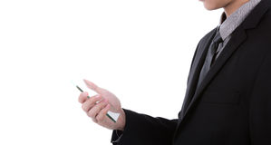 Бизнесмен держа прозрачный передвижной, умный телефон Стоковые Фото
