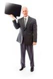 Бизнесмен держа пустой пузырь речи Стоковое Фото