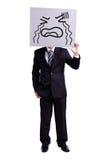 Бизнесмен держа плача афишу выражения стоковые фотографии rf