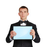 Бизнесмен держа таблетку Стоковая Фотография RF