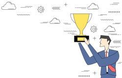 Бизнесмен держа трофей Стоковая Фотография