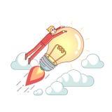 Бизнесмен ехать яркая большая лампа идеи иллюстрация вектора