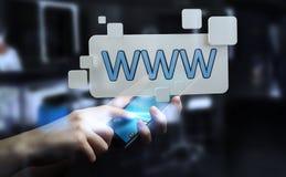 Бизнесмен занимаясь серфингом на интернете используя тактильный бар 3D адреса сети Стоковая Фотография RF