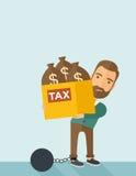 Бизнесмен запертый в шарике и цепи задолженности Стоковые Фото