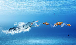 Бизнесмен заплывания Стоковое Изображение RF