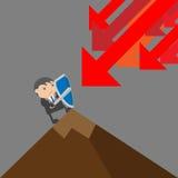Бизнесмен защищает Концепция конспекта персонажа из мультфильма иллюстрации вектора Doodle Стоковые Изображения RF