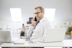 Бизнесмен звоня и используя компьтер-книжку на офисе Стоковое фото RF