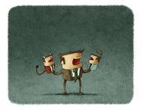 Бизнесмен играя с ангелом и марионетками демона иллюстрация штока