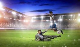 бизнесмен играя футбол Мультимедиа Стоковая Фотография RF