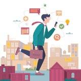 Бизнесмен идет работать на городском ландшафте вектор иллюстрации самомоднейший иллюстрация штока