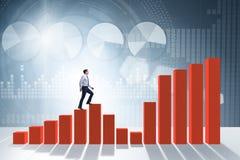Бизнесмен идя вверх диаграмма в виде вертикальных полос в концепции роста Стоковое Изображение RF