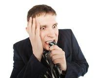 бизнесмен изолировал вспугнутую белизну Стоковая Фотография