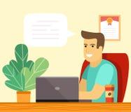 Бизнесмен или клерк работая на столе офиса с ноутбуком и заводом иллюстрация вектора