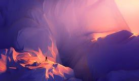 бизнесмен иллюстрации 3d стоя на крае скалы и смотря a стоковые изображения