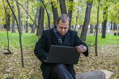 Бизнесмен имея компьтер-книжку в парке осенью Молодой человек сидя на дереве в парке с компьтер-книжкой на его подоле и электронн Стоковые Фото