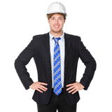 Бизнесмен инженера или архитектора в костюме Стоковые Фото