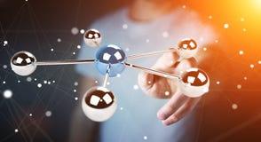 Бизнесмен используя летать перевод сети 3D сфер 3D Стоковое Фото