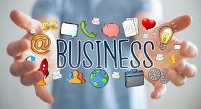 Бизнесмен используя нарисованное вручную представление дела Стоковые Фотографии RF
