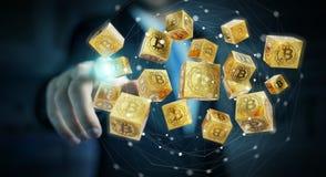 Бизнесмен используя перевод cryptocurrency 3D bitcoins Стоковое фото RF