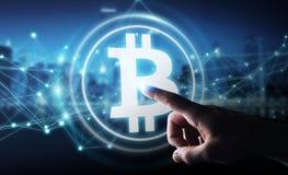 Бизнесмен используя перевод cryptocurrency 3D bitcoins бесплатная иллюстрация
