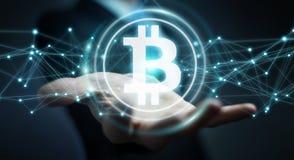Бизнесмен используя перевод cryptocurrency 3D bitcoins иллюстрация штока