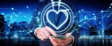 Бизнесмен используя применение датировка найти влюбленность онлайн 3D для того чтобы разрывать иллюстрация вектора