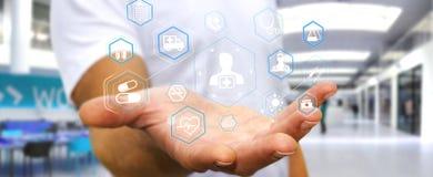 Бизнесмен используя современный медицинский перевод интерфейса 3D Стоковая Фотография
