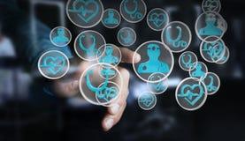 Бизнесмен используя современный медицинский перевод интерфейса 3D Стоковые Фотографии RF