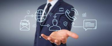 Бизнесмен используя тонкую линию социальные значки сети взаимодействует Иллюстрация вектора