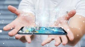 Бизнесмен используя цифровой бинарный код на renderi мобильного телефона 3D Стоковое Фото