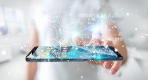 Бизнесмен используя цифровой бинарный код на renderi мобильного телефона 3D Стоковая Фотография